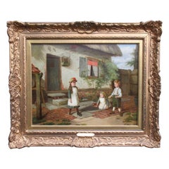 Charles Hunt English Antique Oil Canvas Painting Farmhouse Children Dated 1866