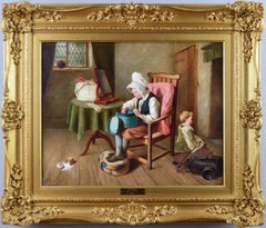 19th Century genre oil painting of children
