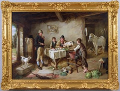 19th Century genre oil painting of figures in a cottage with animals