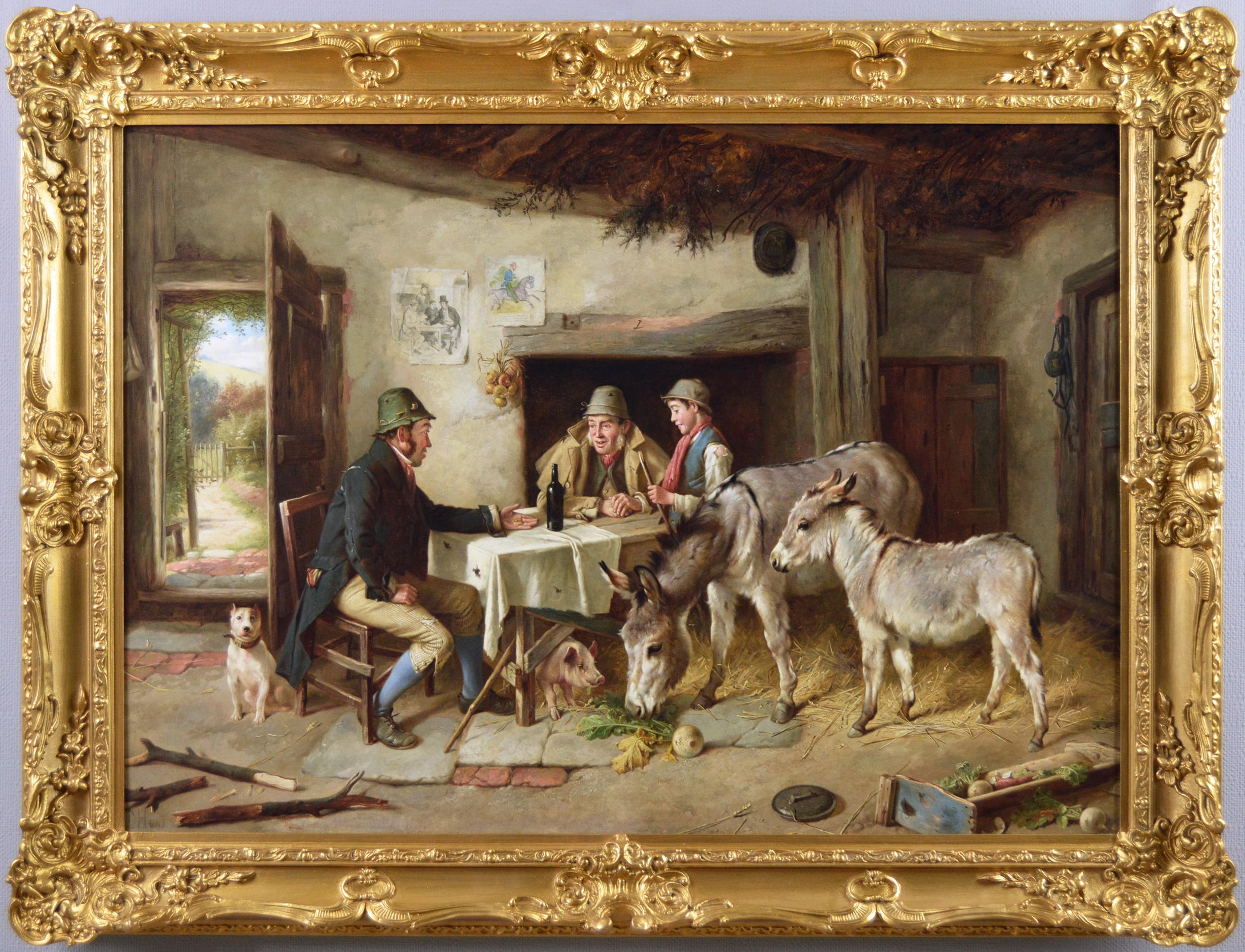 19th Century genre oil painting of figures in a cottage with two donkeys & a dog