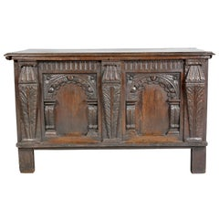 Charles I Carved Oak Coffer