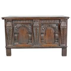 Charles I Carved Oak Coffer