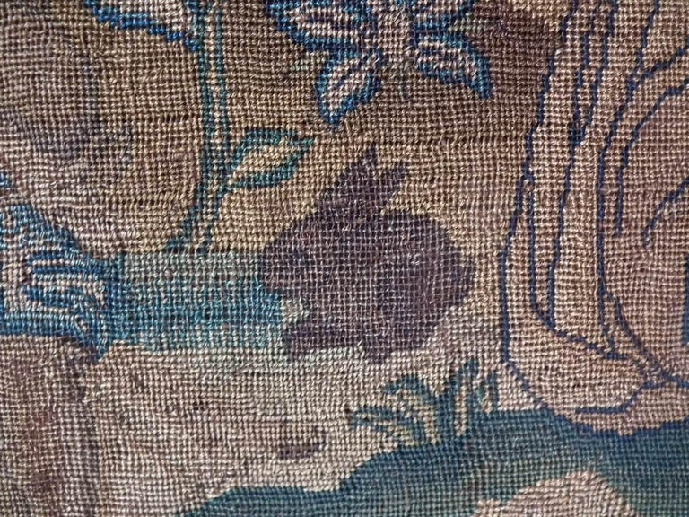 Charles II Antique Silk Work Embroidery Picture of Abraham For Sale 9