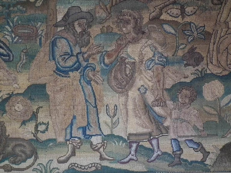 Other Charles II Antique Silk Work Embroidery Picture of Abraham For Sale
