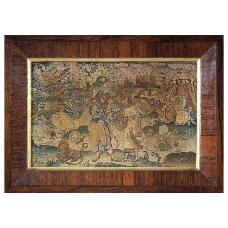 Charles II Antique Silk Work Embroidery Picture of Abraham For Sale
