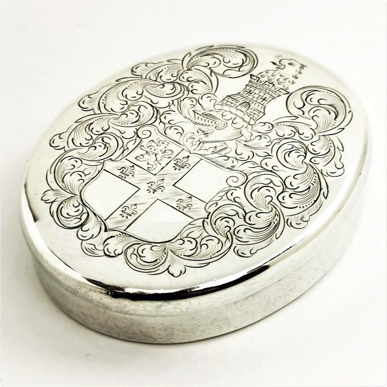 English Charles II Antique Sterling Silver Oval Tobacco Box 1672 17th Century For Sale