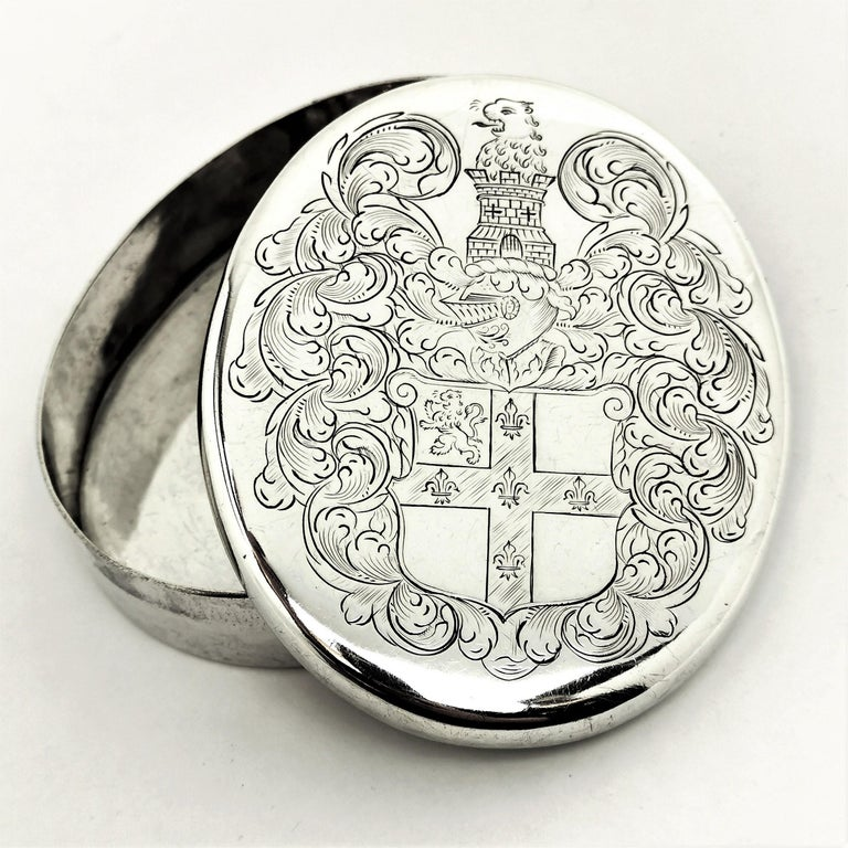 Charles II Antique Sterling Silver Oval Tobacco Box 1672 17th Century In Good Condition For Sale In London, GB