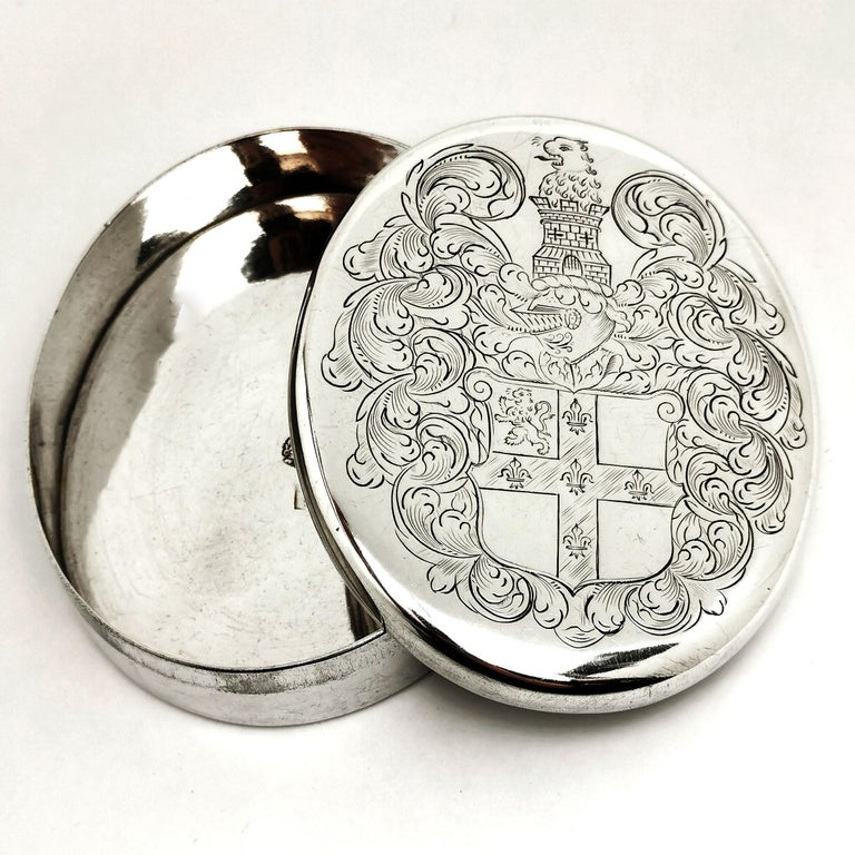 18th Century and Earlier Charles II Antique Sterling Silver Oval Tobacco Box 1672 17th Century For Sale