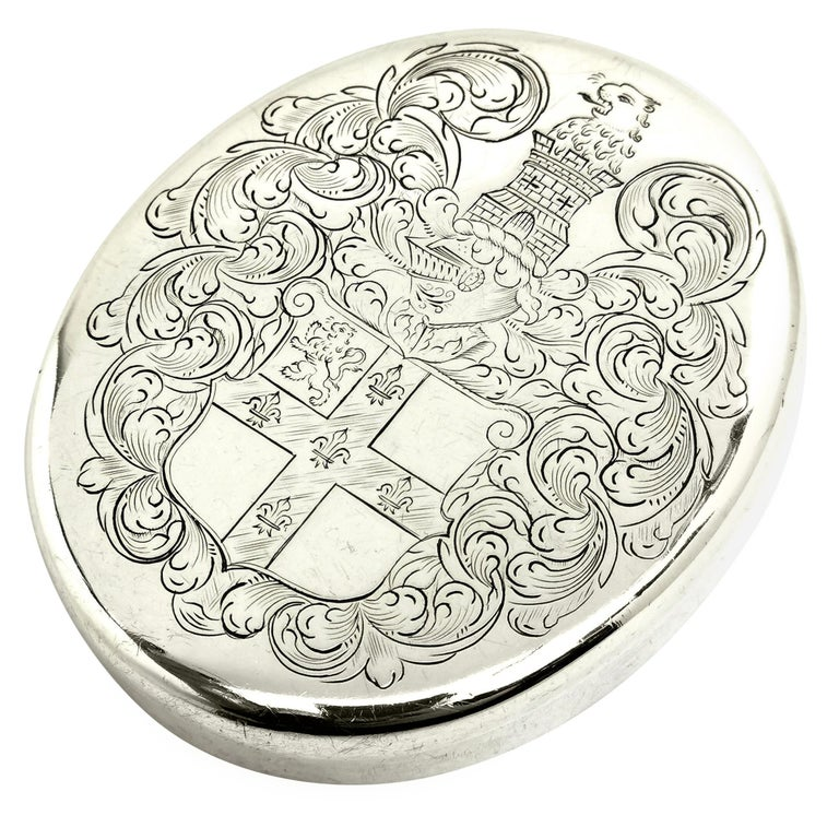 Charles II Antique Sterling Silver Oval Tobacco Box 1672 17th Century For Sale