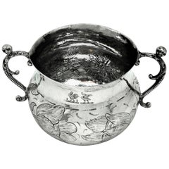 Charles Ii Antique Sterling Silver Porringer Two Handled Cup 1669