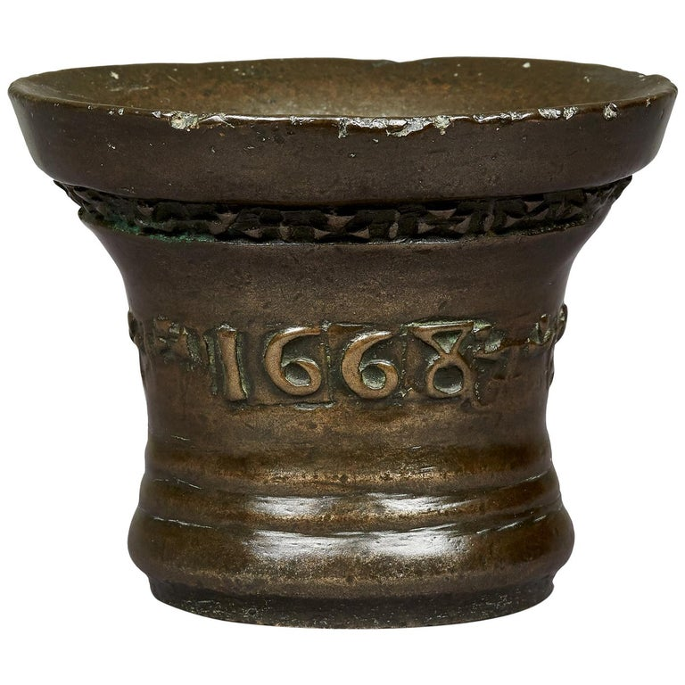 Charles II Lead Bronze Mortar, by 'Anthony Bartlet', Whitechapel, London For Sale