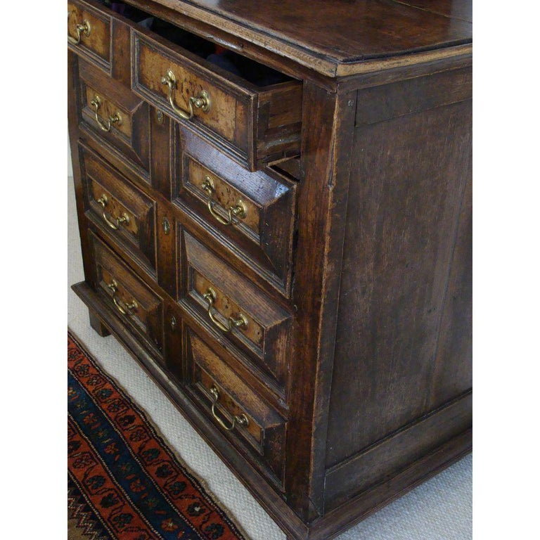 Charles II Oak and Walnut Chest of Drawers For Sale 1