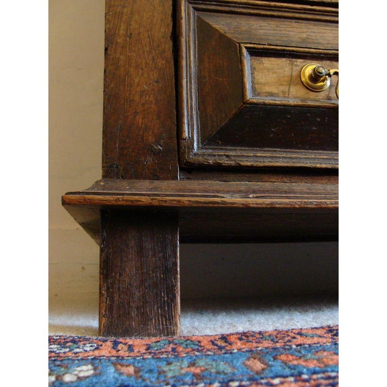 Charles II Oak and Walnut Chest of Drawers For Sale 2