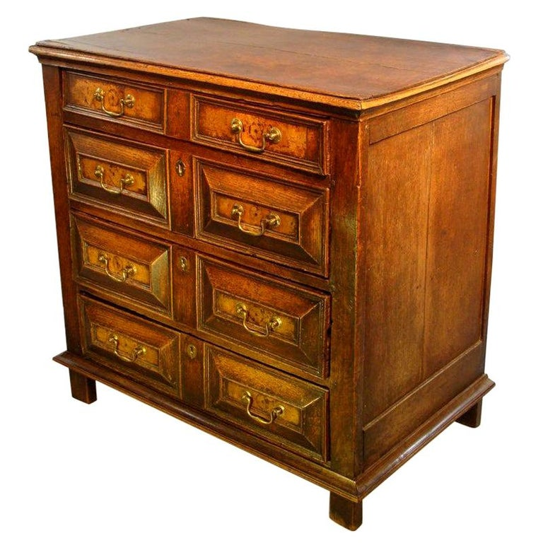 Charles II Oak and Walnut Chest of Drawers For Sale
