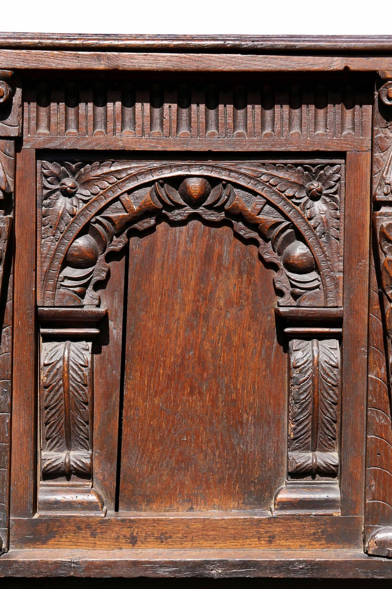 Mid-17th Century Charles II Oak Coffer For Sale