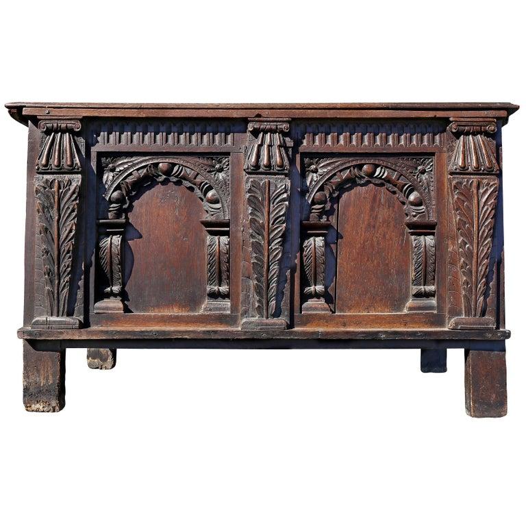 Charles II Oak Coffer For Sale
