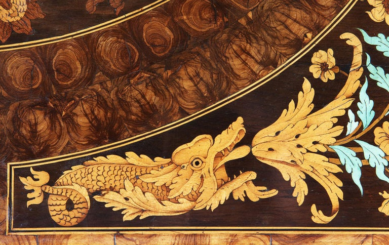 English Charles II Olive Oyster Floral Marquetry Table For Sale