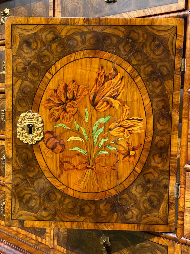 English Charles II Oyster Olivewood Walnut Marquetry Cabinet on Stand For Sale