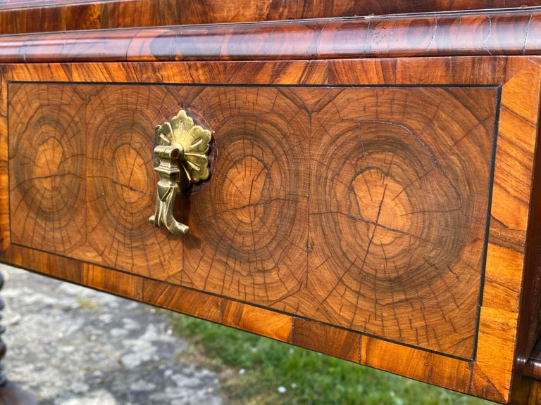18th Century and Earlier Charles II Oyster Olivewood Walnut Marquetry Cabinet on Stand For Sale
