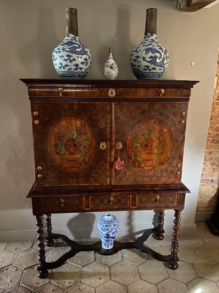 Charles II Oyster Olivewood Walnut Marquetry Cabinet on Stand For Sale 1