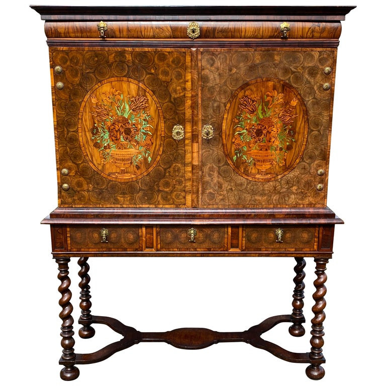Charles II Oyster Olivewood Walnut Marquetry Cabinet on Stand For Sale