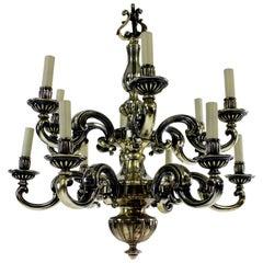 Charles II Style Silvered Bronze Chandelier