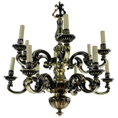Charles II Style Silvered Bronze Chandelier