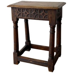Charles II Suffolk Carved Oak Joint Stool