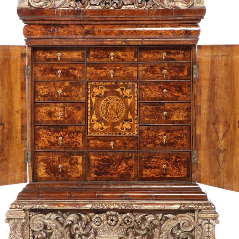 17th Century Charles II Walnut, Mulberry Marquetry Cabinet, Gilt Stand, 17th C H.F. du Pont
