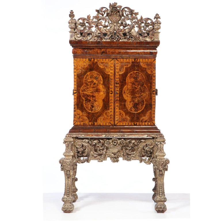British Charles II Walnut, Mulberry Marquetry Cabinet, Gilt Stand, 17th C H.F. du Pont