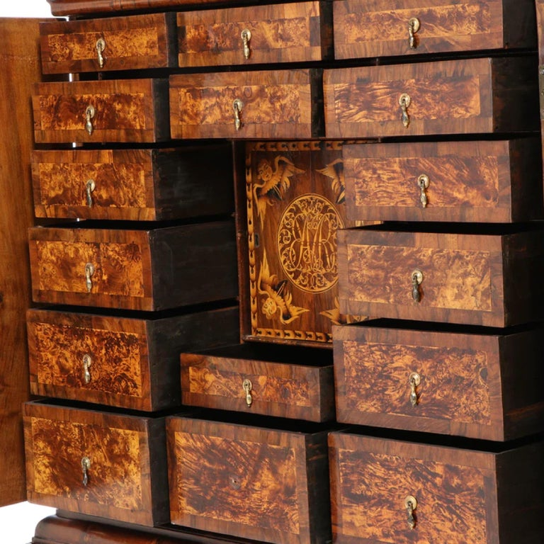 Charles II Walnut, Mulberry Marquetry Cabinet, Gilt Stand, 17th C H.F. du Pont 1