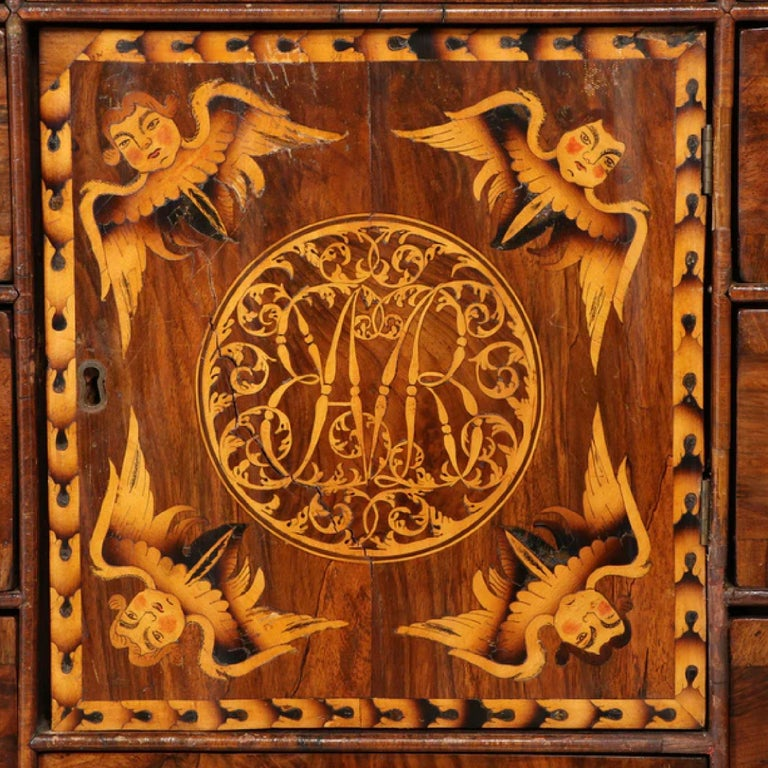 Charles II Walnut, Mulberry Marquetry Cabinet, Gilt Stand, 17th C H.F. du Pont 2