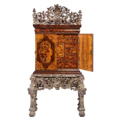 Charles II Walnut, Mulberry Marquetry Cabinet, Gilt Stand, 17th C. H.F. du Pont