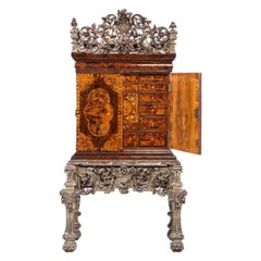 Charles II Walnut, Mulberry Marquetry Cabinet, Gilt Stand, 17th C H.F. du Pont
