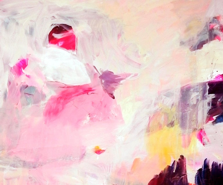 Gestural Landscape II - Contemporary, Light Colors, Pink, Purple, Abstract  - Painting by Charles J. de Bisthoven
