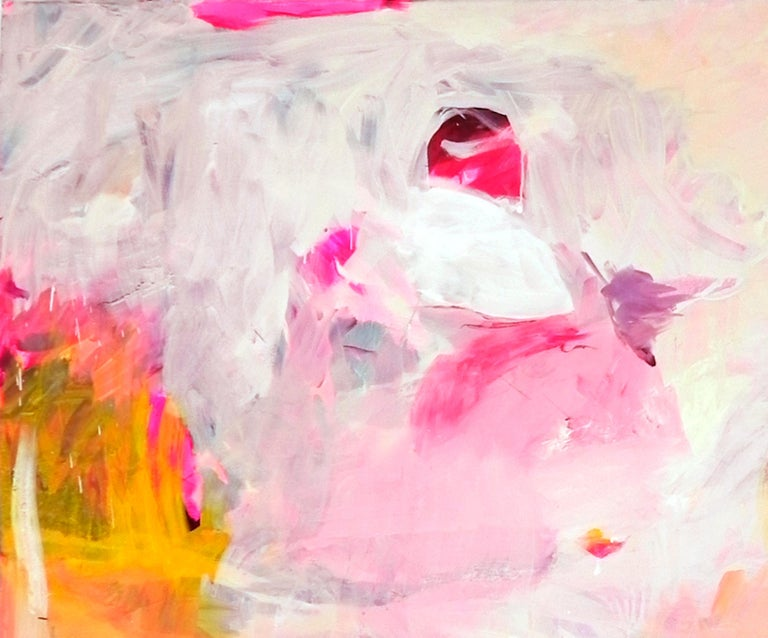 Gestural Landscape II - Contemporary, Light Colors, Pink, Purple, Abstract  - Beige Abstract Painting by Charles J. de Bisthoven