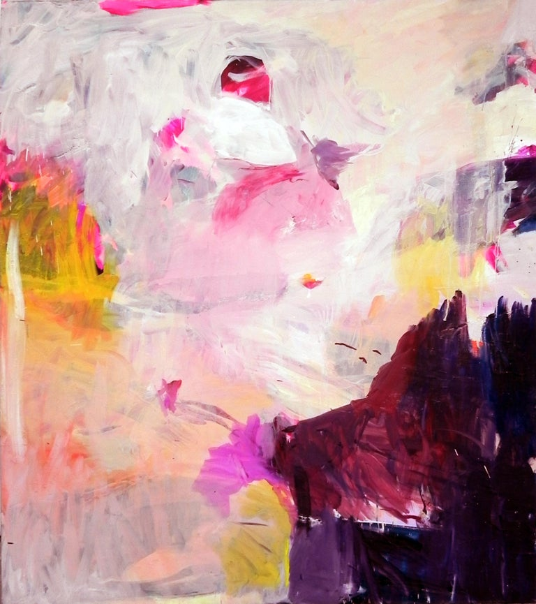 Charles J. de Bisthoven Abstract Painting - Gestural Landscape II - Contemporary, Light Colors, Pink, Purple, Abstract
