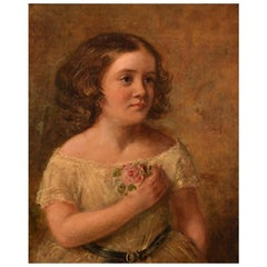 Charles James Lewis, England, Oil on Canvas, Portrait of Girl