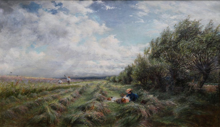 A Breezy Haymaking Day - British Victorian Impressionist landscape oil painting  For Sale 9