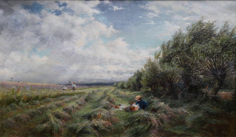 A Breezy Haymaking Day - British Victorian Impressionist landscape oil painting  - Painting by Charles James Lewis