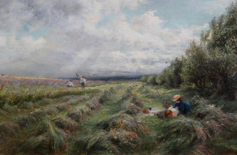 A Breezy Haymaking Day - British Victorian Impressionist landscape oil painting  - Brown Figurative Painting by Charles James Lewis