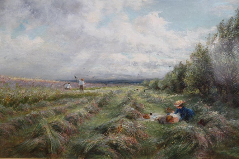 A superb British Impressionist oil painting by Charles James Lewis RI ROI (1830-1892). This painting is one of his best. It is a large oil on canvas depicting a haymaking scene in an open and expansive landscape in a stunning and fresh palette. A