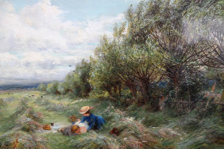 A Breezy Haymaking Day - British Victorian Impressionist landscape oil painting  For Sale 1