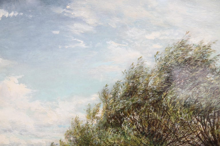 A Breezy Haymaking Day - British Victorian Impressionist landscape oil painting  For Sale 5
