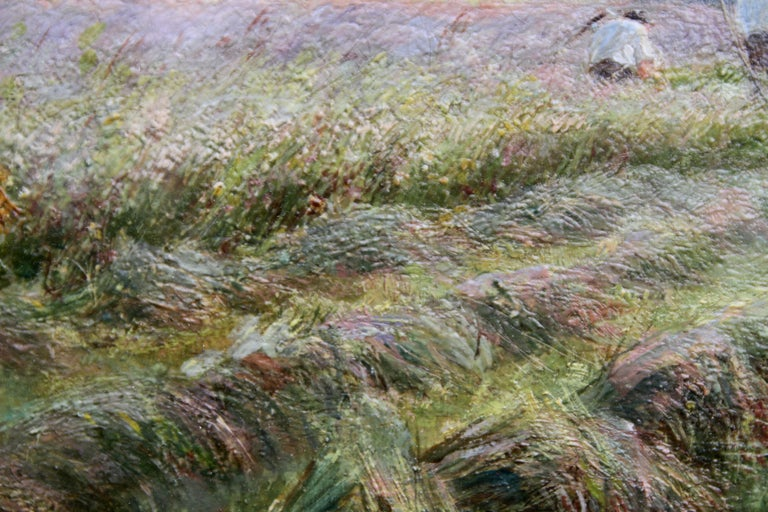A Breezy Haymaking Day - British Victorian Impressionist landscape oil painting  For Sale 6