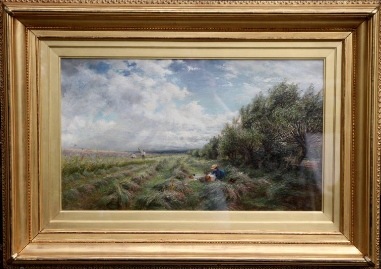 An original British Impressionist oil painting by Charles James Lewis RI ROI (1830-1892). This painting is one of his best. It is a large oil on canvas depicting a haymaking scene in an open and expansive landscape in a stunning and fresh palette. A