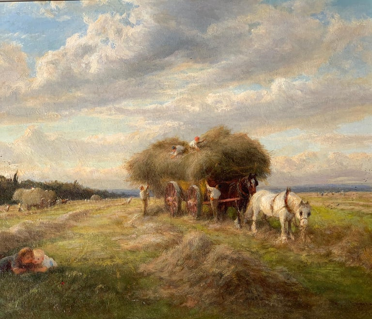English 19th century Victorian Summertime Harvest landscape - Painting by Charles James Lewis