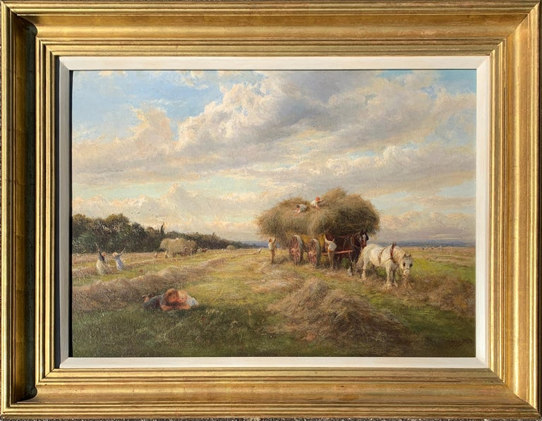 Charles James Lewis Landscape Painting - English 19th century Victorian Summertime Harvest landscape