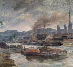 """""""View of Rouen"""" France, Impressionist 19th century, Oil on Cardboard, 1898"""