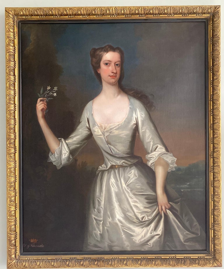English 18th century portrait of Henrietta Pelham-Holles, Duchess of Newcastle.  - Painting by Charles Jervas